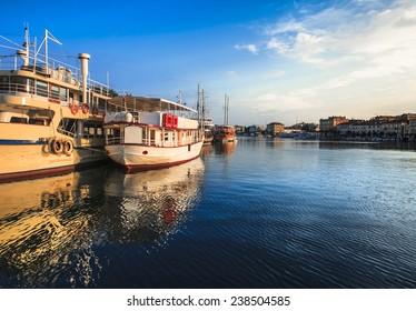 Boat anchor in old rustic mediterean city Zadar in Croatia