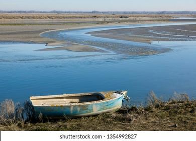 Boat in the Baie de Somme, Saint-Valery-sur-Somme, Somme, Hauts-de-France, France