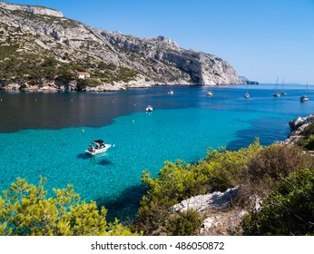 Boat in the bay of Calanques Sormiou - Marseille, France