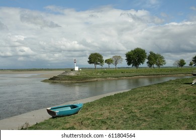Boat in bay of Somme in Picardy, France