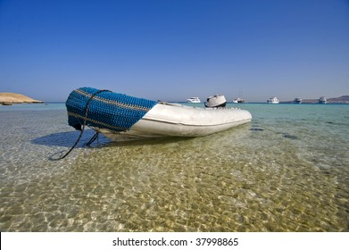 Boat beached in lagoon