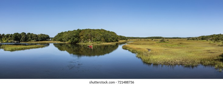boat at beautiful lake landscape at Harwich at Cape Cod island