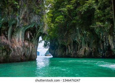 Boat between the scenic islands, Krabi, Thailand