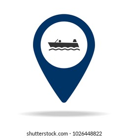 boat in blue map pin icon. Element of map point for mobile concept and web apps. Icon for website design and development, app development. Premium icon on white background