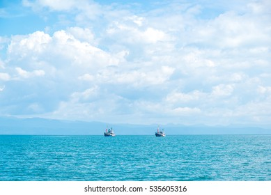 boat in the blue sea  at Thailand.