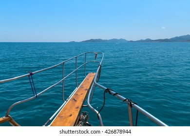 Boat bow sailing in sea