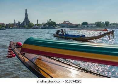 Boat bow. View from Chao Praya river to Wat Arun, The Temple of Dawn, Bangkok, Thailand