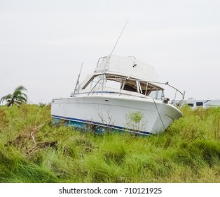A boat brought on shore from powerful Hurricane Harvey on the Texas Coast