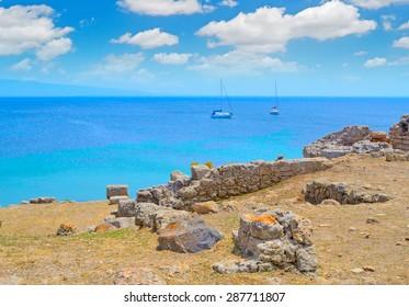 boat by the coast in Tharros, Sardinia