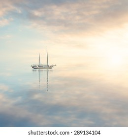 Boat in the calm water silence
