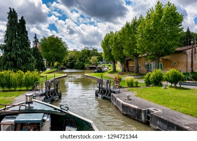 Boat in Canal du Midi, southern france. France.