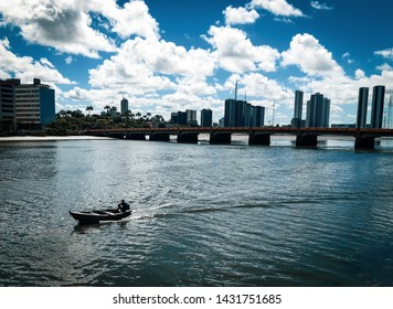 a boat in the Capibaribe river. Recife, Brazil.