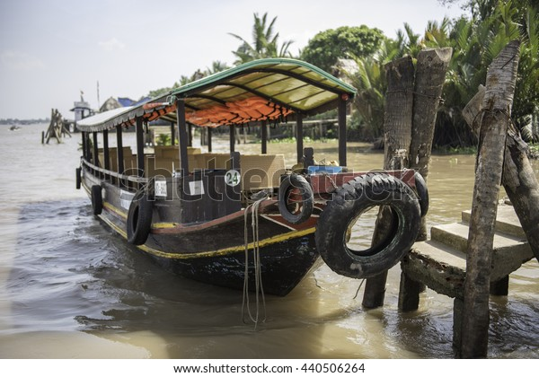 A boat to cater tourists in Mekong River, Ho Chi Minh, Vietnam - December 2014