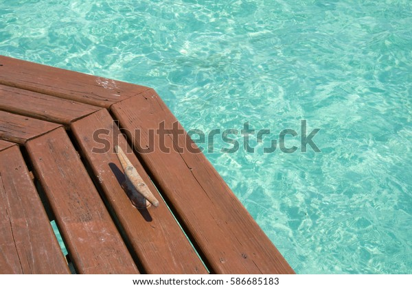 Boat Cleat On Obtuse Angle Wooden Stock Photo (Edit Now