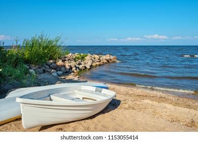 Boat at the coast of the Lake Peipus. Estonia, Europe