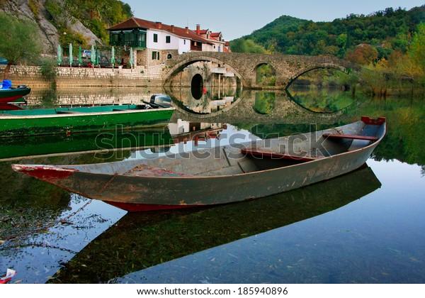 Boat at Crnojevica river, Montenegro, Balkans