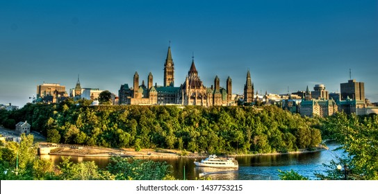 Boat cruise on Ottawa river in front of Parliament of Canada