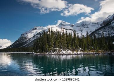 Boat cruise to Spirit Island on Maligne Lake, Jasper National Park, Canadian Rockies