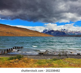 Boat dock at the Laguna Azul. National Park Torres del Paine and Patagonia, Chile