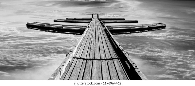 Boat Dock, Pier on Quiet, Calm Lake Panoramic Black and White