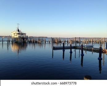 A boat docked at Sag Harbor, Long Island, New York.