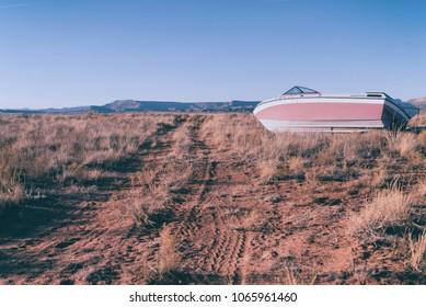 Boat in the dry desert