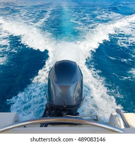 Boat engine in motion at sea