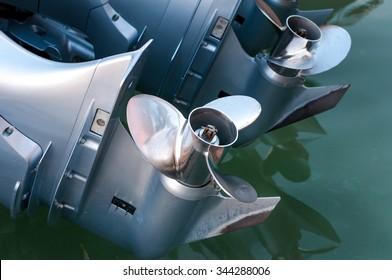 Boat engine with propeller details