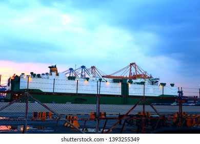 Boat and ferry port in the evening in the evening