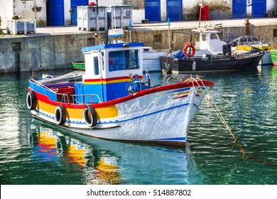 Boat in the Fishing Harbor of Sesimbra, Portugal