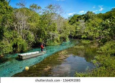 Boat floating on Sucuri river in Bonito, Mato grosso do sul - Brazil