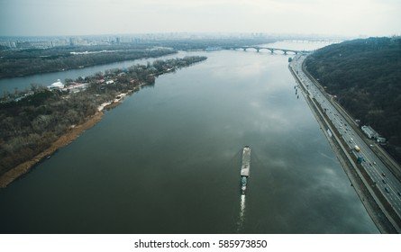 boat floats on the river. aerial view