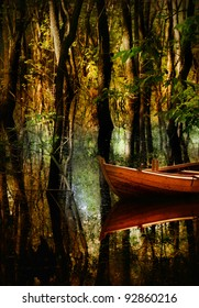 Boat at forest/Wooden boat/flooding forest near Lodz,Poland