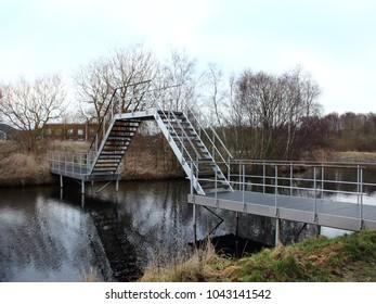 Boat Friendly Designed Metal Bridge at Small River