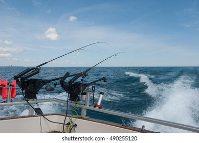 The boat goes into Lake Michigan with fishing equipment