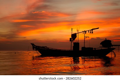 The boat in Golden sea at Koh samui Thailand.