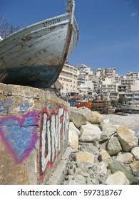 Boat and graffiti, Kavala on the Greek mainland coastline