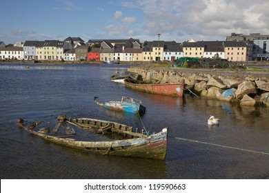 Boat graveyard in the Claddagh, Galway, Ireland.