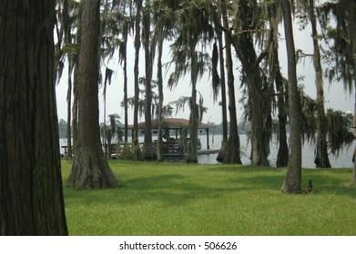 Boat house on cypress-lined Georgia lake.