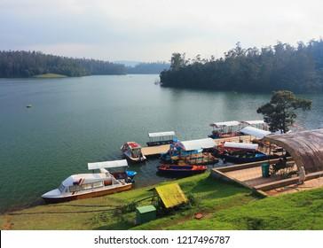 A boat house on the Pykara Lake near Ooty, Tamil Nadu, India