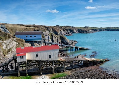 Boat houses at St Justinian near St Davids on the Pembrokeshire Coast in Wales
