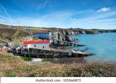 Boat houses at St Justinian near St Davids on the Pembrokeshire coast