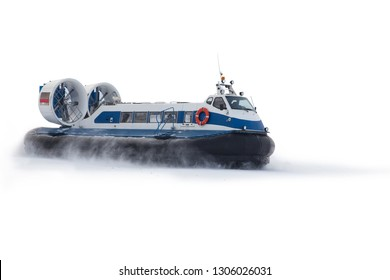 Boat hovercraft transport on white background isolated in snow dust