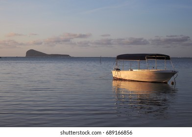 Boat in the Indian ocean at the sunset