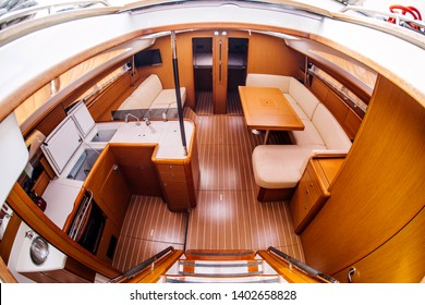 Boat interior. Yacht, holiday recreation, tourism, travel and vacation concept