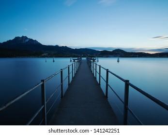 Boat jetty at dusk