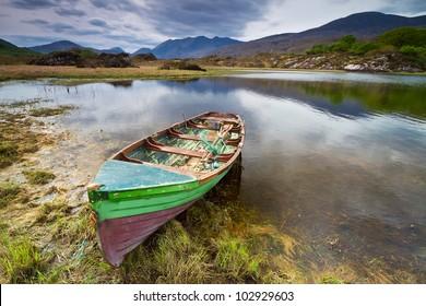 Boat at the Killarney lake in Co. Kerry, Ireland