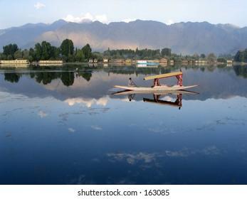 Boat in lake. kashmir. Panorama
