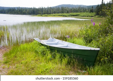 Boat at Lake Noel in Jacques Cartier National Park, Canada