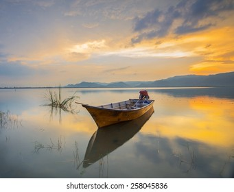 Boat at The Lake on Sunset